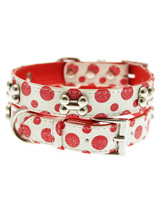 Red / White Polka Dot Glitter Silver Bone Collar - This striking red and white leather collar with stitched edging has a hint of glitter, finished with three chrome bones and will look great for walkies. A very smart addition to the wardrobe of any trendy pooch.S-M Width: 14mmM-L Width: 19mmL-XL Width: 25mm
