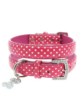 Hot Pink Polka Dot Collar & Diamante Heart Charm - Sparkling Bling Polka Dot Collar! This pink leather collar with a stitched edging has a crystal encrusted buckle and a large sparkling diamante heart charm complete the look. A glamorous addition to the wardrobe of any trendy pooch. S-M Width: 14mmM-L Width: 19mmL-XL Width: 25mm