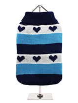 Blue Hearts Striped Sweater - A beautiful striped turtle neck sweater inlaid with hearts that say I love you. Cover up in style with this sweater that will keep the cold at bay and keep the wearer comfortable and snug on cold days and even colder nights.