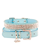 Aqua Blue Diamante Dog Collar - This dazzling Diamante dog collar in blue is truly stunning. The collars have 4 rows of sparkling diamante crystals. It comes complete with a diamante heart collar charm and crystal encrusted buckle. A pure bling accessory that will adorn your dogs neck with a unique brilliance. Truly a glamorous ad...