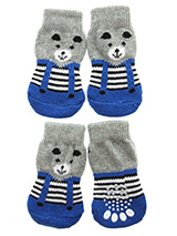 Teddy's Trousers Pet Socks - These fun and functional doggie socks protect your dogs paws from mud, snow, ice, hot pavement, hot sand and other extreme weather. Made from 95% cotton and 5% spandex making them comfortable and secure. Each sock features a paw shaped anti-slip silica pad and help keep your house sanitary. (set of...