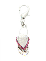 Swarovski Flip Flop Dog Collar Charm (Pink Crystals) - This is a very fancy flip flop but a very nice one never the less. Finished in Pink Swarovski crystals it is just perfect for the girl in your life.
