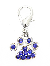 Swarovski Little Paw Dog Collar Charm (Blue Crystals) - A beautiful little paw to remind you of all the paw prints you have to clean up every day. But this one is a bit more fun with its shimmering crystal diamantes.