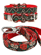 Skull & Roses Fabric Collar & Lead Set - Lets get, lets get rocked with our tattoo inspired Skull and Roses collar and lead set. It is lightweight and incredibly strong. The collar has been finished with chrome detailing including the eyelets and tip of the collar. A matching lead, harness and bandana are available to purchase separately....