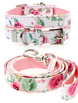 Pink Floral Cascade Fabric Collar & Lead Set - Our Floral Cascade pattern collar and lead set is a rich contemporary style and the floral pattern is right on trend. It is lightweight and incredibly strong. The collar has been finished with chrome detailing including the eyelets and tip of the collar. A matching harness and bandana are available...