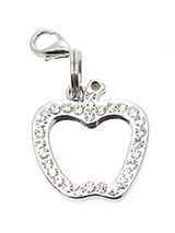 Apple Diamante Mirrored  Dog Collar Charm - If you are looking for bling then look no further. Our Bone Diamante Dog Collar Charm is encrusted with diamantes and if that was not enough it also has a mirror finish inset. It attaches to any collar's D-ring with a lobster clip.
