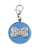 Blue Enamel / Diamante Bone Dog Collar Charm - If you are looking for bling then look no further. Our Blue Enamel / Diamante Bone Dog Collar Charm is encrusted with diamantes set against a beautiful blue enamel background. It attaches to any collar's D-ring with a lobster clip. The perfect accessory to add bling to your dog's collar.
