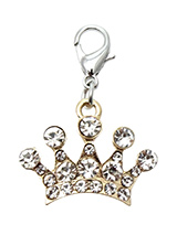 Diamante Gold Crown Dog Collar Charm - This impressive charm is a Diamante Gold Crown Dog Collar Charm rendered in gold alloy and detailed with 15 Crystals. Remind everyone of the respect your pup is due by flashing this regal charm.