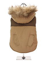 Brown on Brown Two Tone Parka - This two toned Parka coat is cosy and stylish and bang on trend. It has a faux fur trimmed hood and is fleece lined to keep your dog snug and warm. Perfect for the dog that likes a bit of rough and tumble, a quality, multi-layered piece of clothing that will keep the heat in and the cold out. Our cl...
