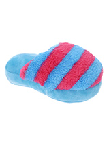 Blue & Fuschia Striped Slipper Plush & Squeaky Dog Toy - There is nothing a dog likes more than chewing shoes and slippers, so rather than chew yours let them chew on this fun toy. Cuddly with colourful textures, with an added squeak to entertain your pet! These soft, cute and cuddly toys are designed for your dog to both snuggle and play with.