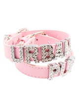 Pink Leather Personalised Dog Collar (Diamante Letters) - Pink Leather Personalised Dog Collar (Diamante Letters)