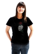 Skull &amp; Rose GlamourGlitz Women's T-Shirt - Exclusive GlamourGlitz ''Mommy and Me'' Women's T-Shirt. <br /><br /> With a tattoo design attributing to 80's Glam Rock crafted with Silver, Green and Red Rhinestuds that catch a sparkle in the light. Whether you wear this to match up with your pet or just on it's own, you can be sure you are weari...