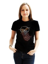 American Spirit GlamourGlitz Women's T-Shirt - Exclusive GlamourGlitz ''Mommy and Me'' Women's T-Shirt. <br /><br /> Designed with the American Eagle swooping down and clutching the Stars and Stripes, symbolizing the Spirit of America. Crafted with Red, Silver and Blue Rhinestuds that catch a sparkle in the light. Whether you wear this to match...