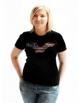 American Eagle GlamourGlitz Women's T-Shirt - Exclusive GlamourGlitz ''Mommy and Me'' Women's T-Shirt. <br /><br /> Designed with a soaring American Eagle, the National Emblem, crafted with Red, Silver and Blue Rhinestuds that catch a sparkle in the light. Whether you wear this to match up with your pet or just on it's own, you can be sure you...