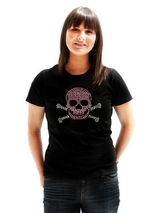 Skull &amp; Crossbones GlamourGlitz Women's T-Shirt - Exclusive GlamourGlitz ''Mommy and Me'' Women's T-Shirt. <br /><br /> Embellished with a Skull and Crossbones design and crafted with Pink and Silver Rhinestuds that catch a sparkle in the light. Whether you wear this to match up with your pet or just on it's own, you can be sure you are wearing a u...