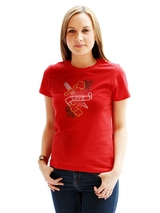 Love Heart GlamourGlitz Women's T-Shirt - Exclusive GlamourGlitz ''Mommy and Me'' Women's T-Shirt. <br /><br /> With a symbolic heart tattoo design representing love and courage. Crafted from Red, Green, Silver and Gold Rhinestuds that catch a sparkle in the light. Whether you wear this to match up with your pet or just on it's own, you can...