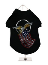 American Spirit GlamourGlitz Dog T-Shirt - Exclusive GlamourGlitz 100% Cotton Dog T-Shirt. Embellished with the American Eagle swooping down and clutching the Stars and Stripes, symbolizing the Spirit of America. Crafted with Red, Silver and Blue Rhinestuds that catch a sparkle in the light. Wear on it's own or match with a GlamourGlitz ''Mo...