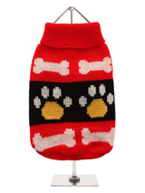 Red Paws Sweater - A bright red turtle neck knitted sweater that will liven up all dogs wardrobe. This fun design can be worn just about anytime. Featuring a turtle neck finish and cute dog paw pattern this is a sweater that looks good, wears good and is one outfit that will raise many a smile.