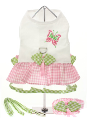 Butterfly Harness Dress, Lead & Hat