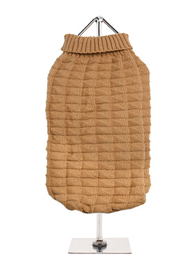 Brown Waffle Textured Knitted Sweater