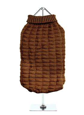 Chocolate Brown Waffle Textured Knitted Sweater