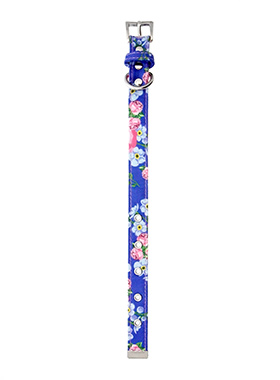 Pink / Blue Floral Burst Fabric Collar & Lead Set