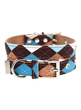 Brown & Blue Argyle Collar