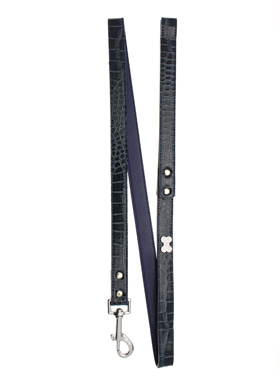 Blue Crocodile Leather Diamante Lead