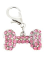 Swarovski Bone Dog Collar Charm (Pink Crystals)