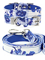 Blue Floral Bouquet Fabric Collar & Lead Set