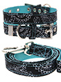 Black & Blue Paisley Collar & Lead Set